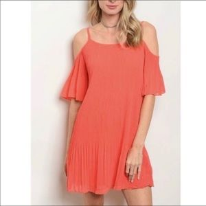 Do+Be Coral Cold Shoulder Pleated Flounce Dress